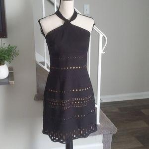 Laundry by Shelli Segal Eyelet Linen Halter Dress